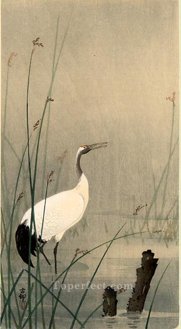 crane in small water Ohara Koson birds Oil Paintings