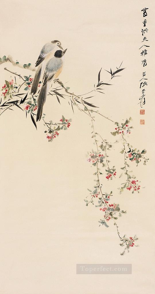 Chang dai chien birds on floral branches old China ink birds Oil Paintings