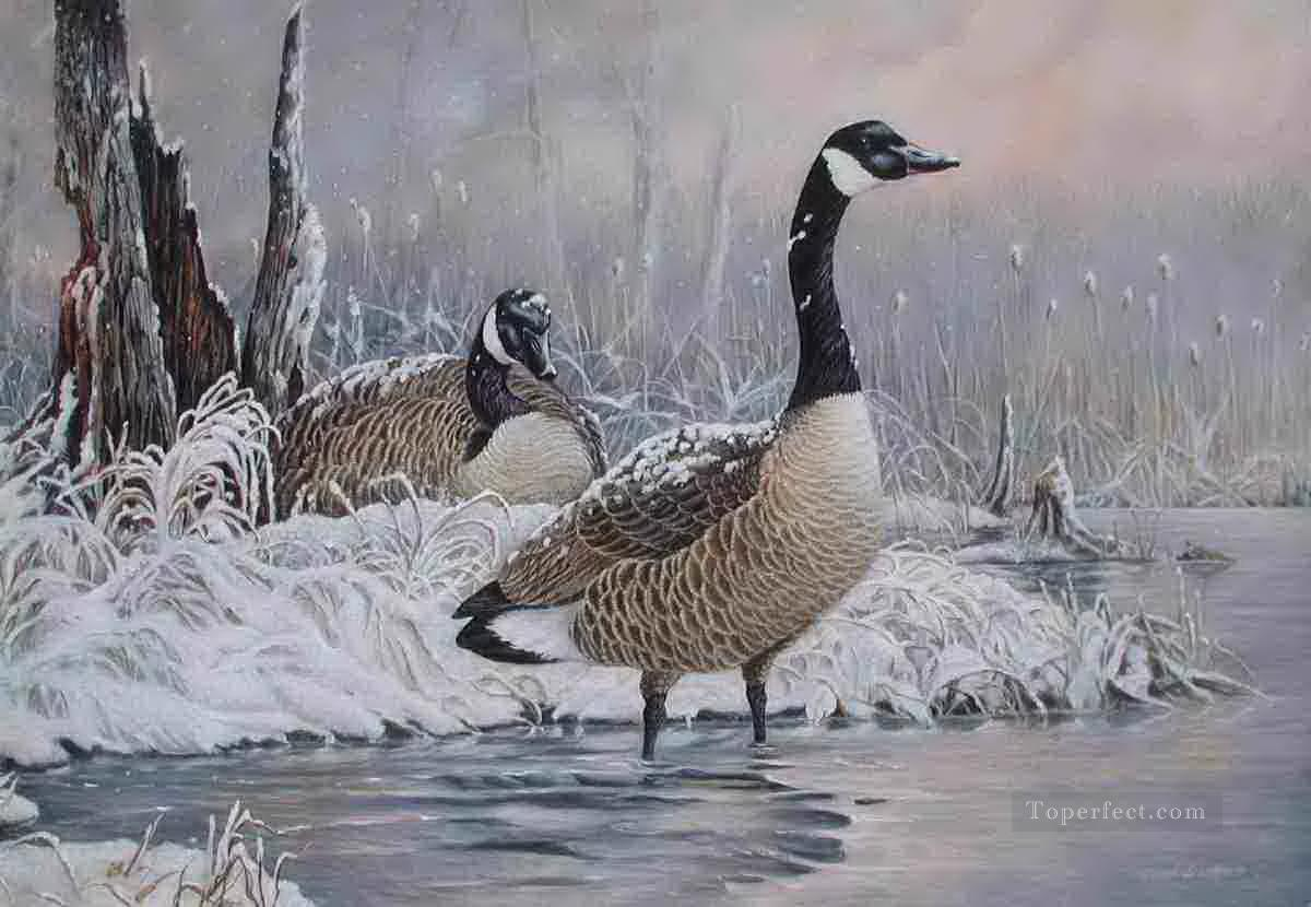 birds in snowing lake Painting in Oil for Sale
