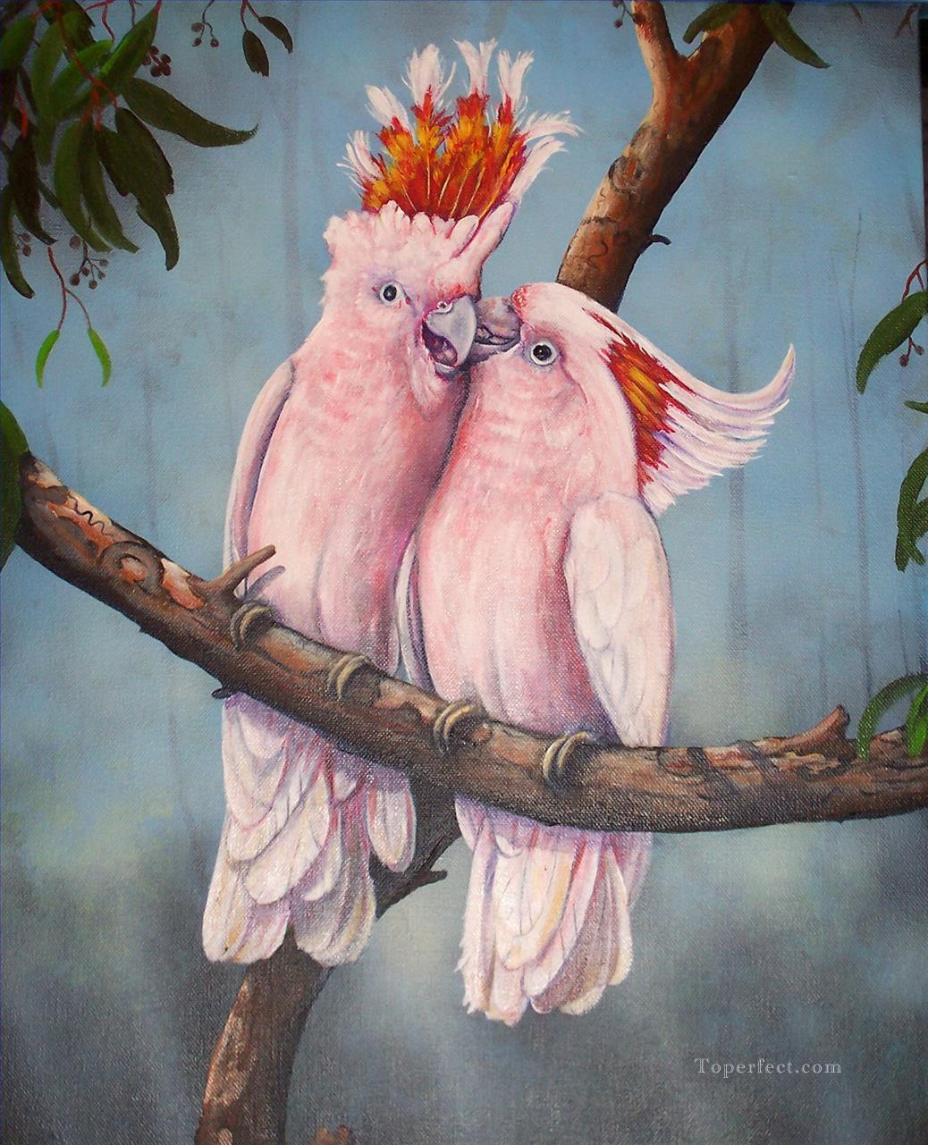 parrots lover birds Oil Paintings