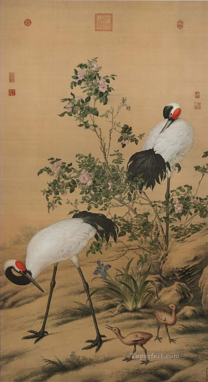 Lang shining cranes in flowers old China ink Giuseppe Castiglione birds Oil Paintings