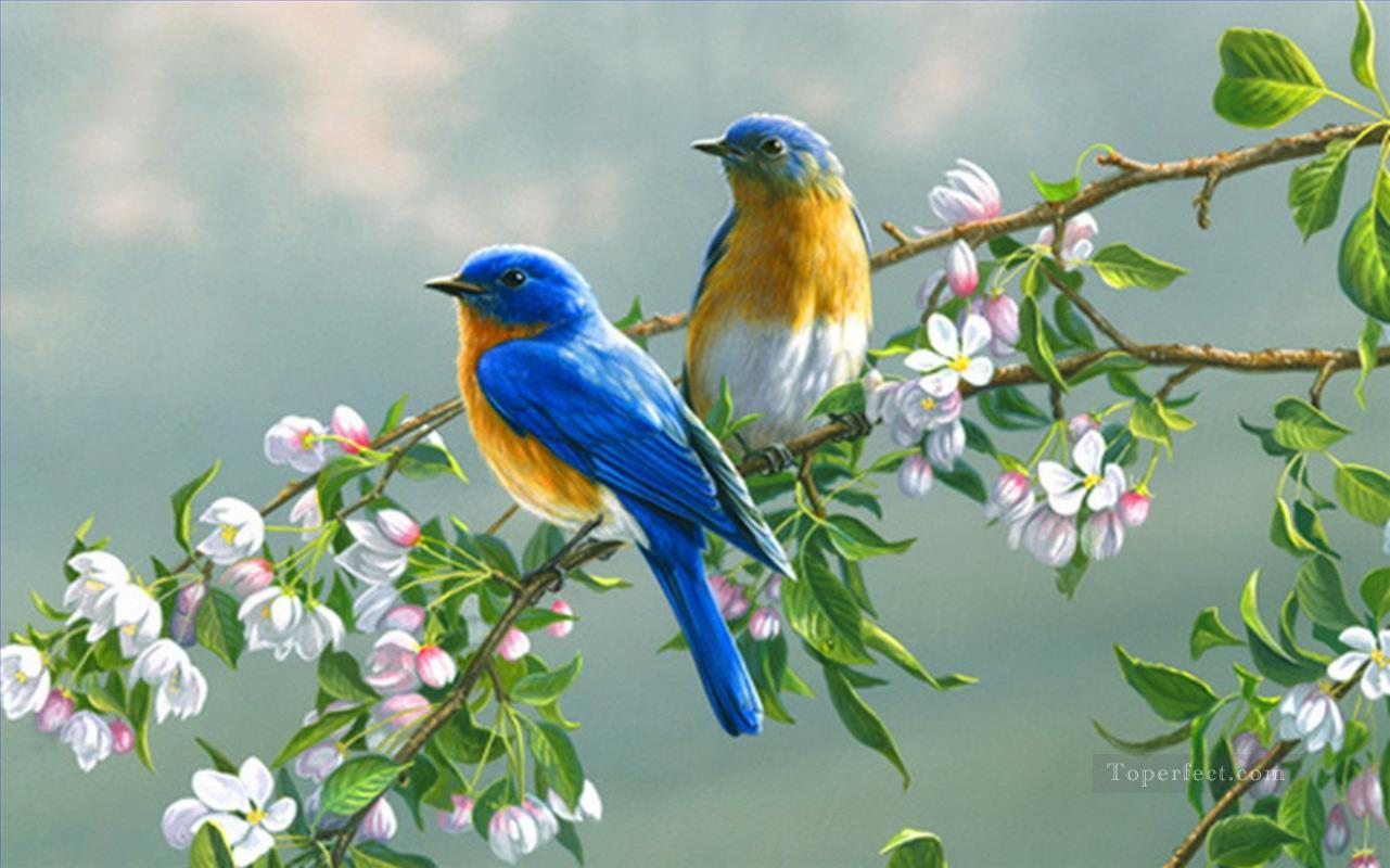 bluebirds with flowers birds Painting in Oil for Sale