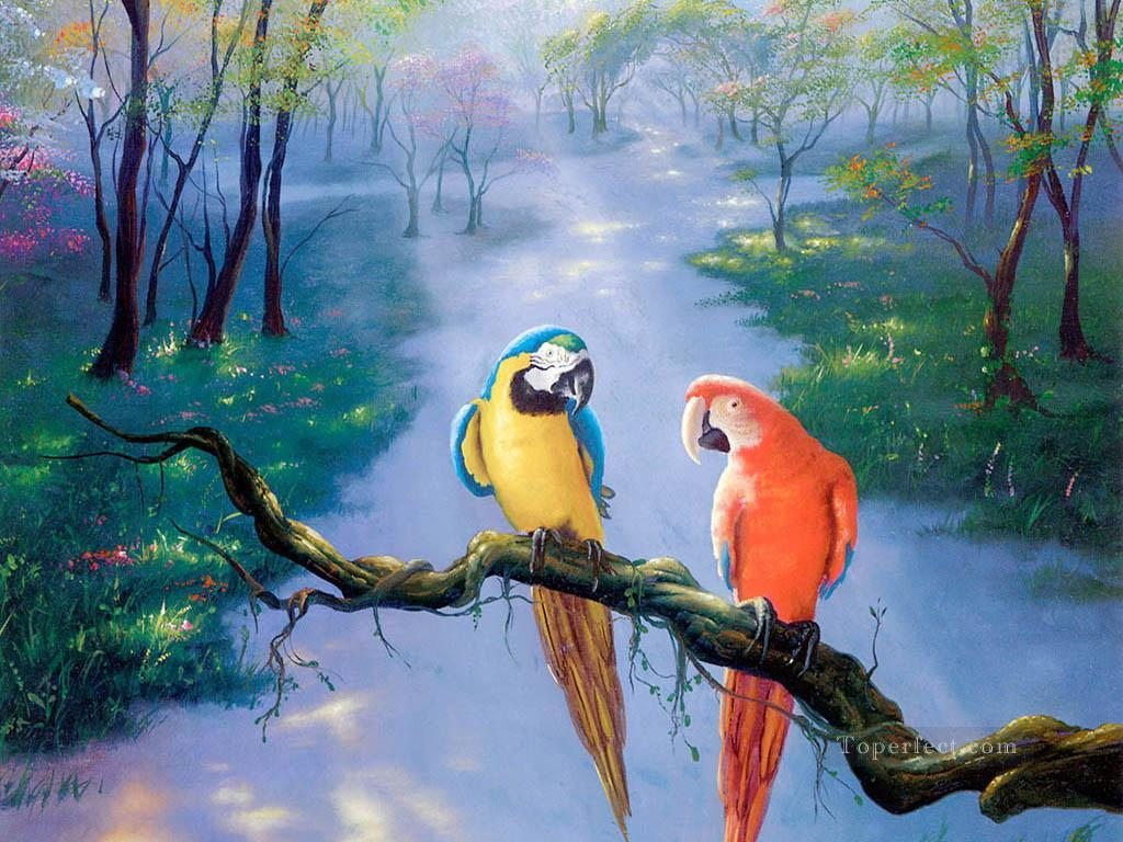parrot in forest beauful birds painting in oil for sale