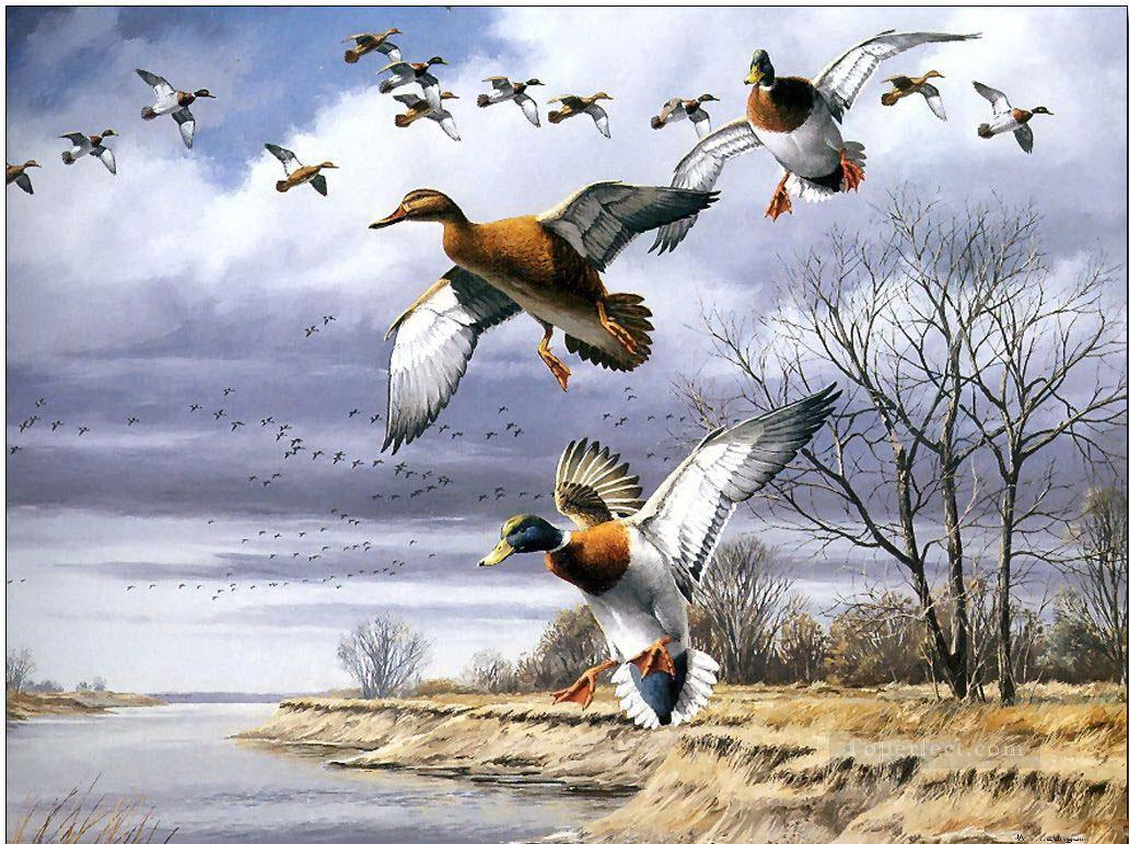 birds migration Painting in Oil for Sale