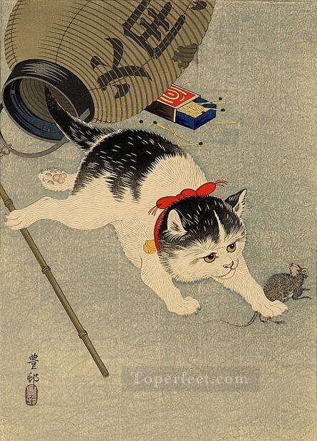 cat catching a mouse Ohara Koson kitten Oil Paintings