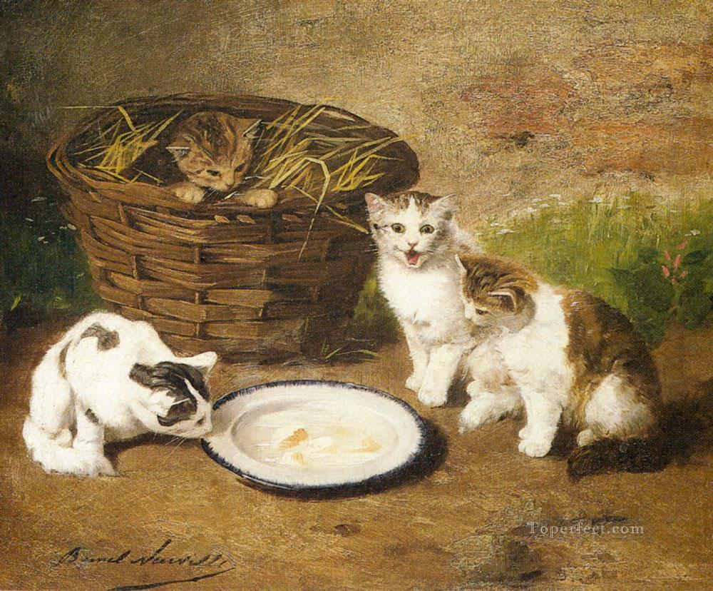 Kittens by a Bowl of Milk Alfred Brunel de Neuville Oil Paintings