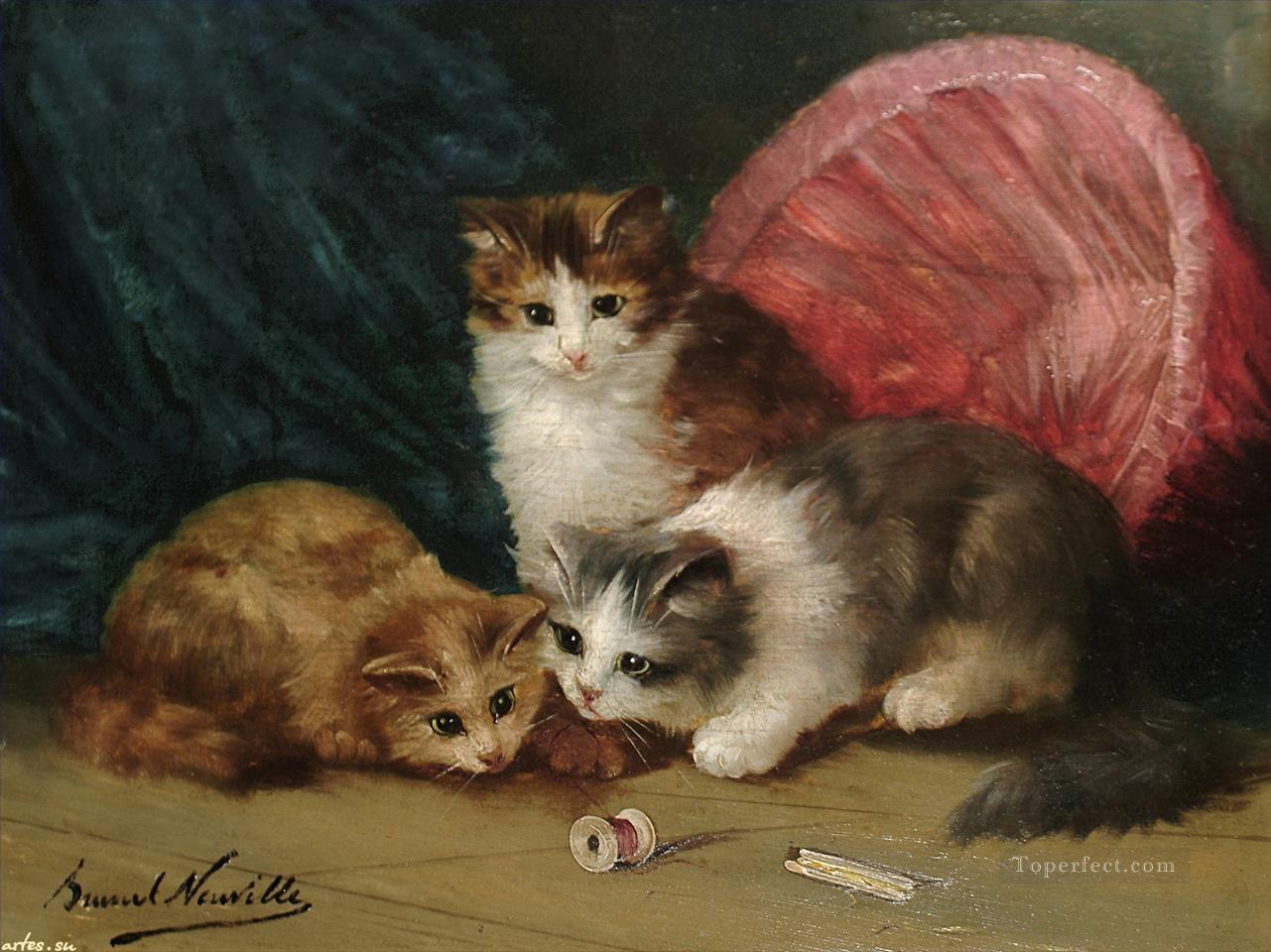 playing kittens Alfred Brunel de Neuville Oil Paintings