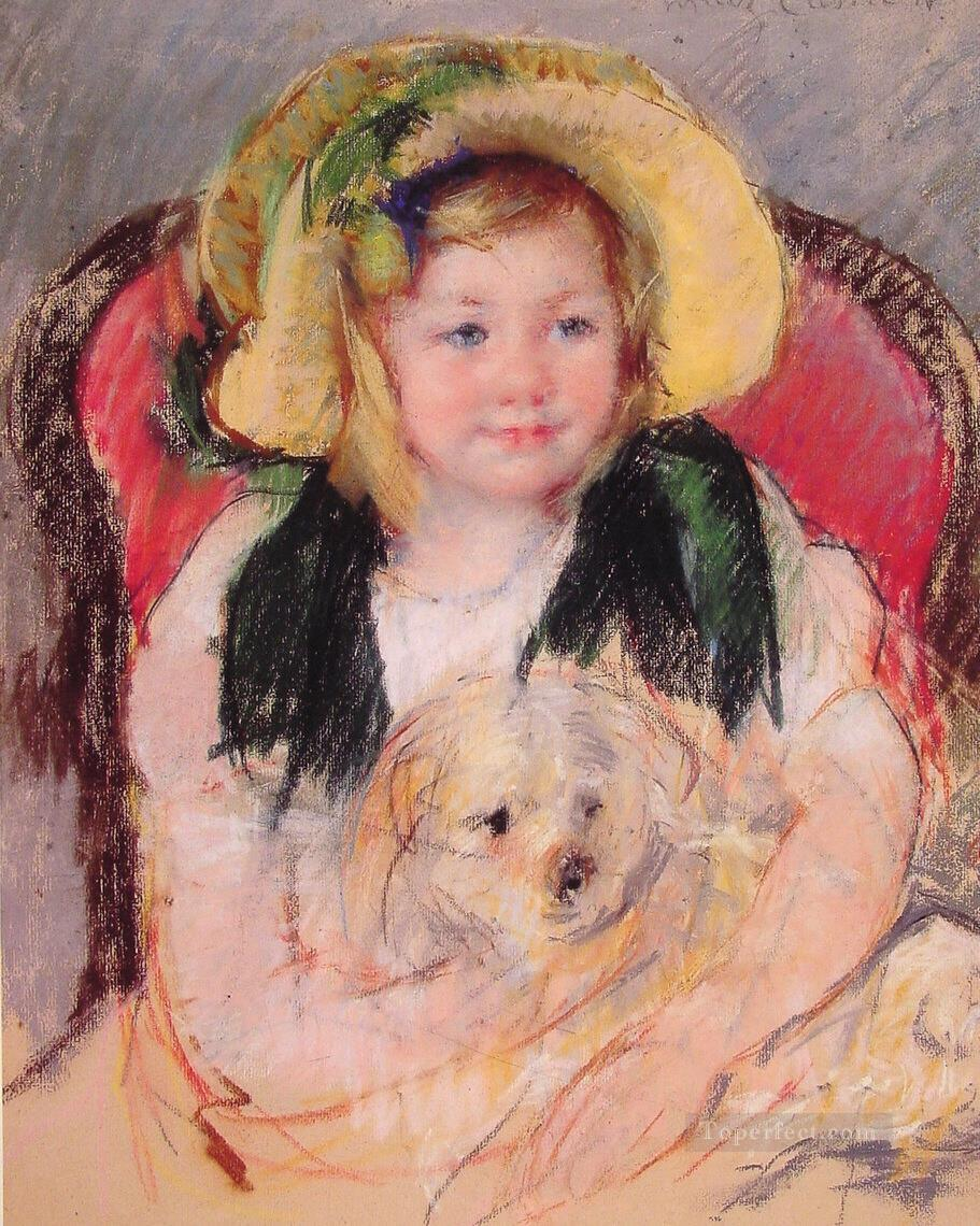 Sara with her dog impressionism mothers children Mary Cassatt Oil Paintings