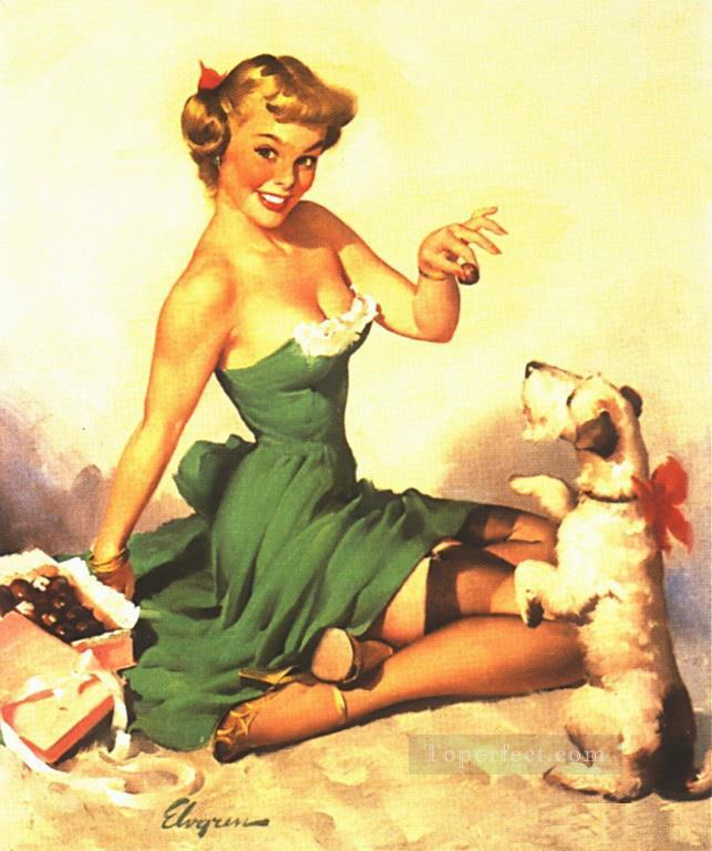 pin up with dog in red bow Oil Paintings