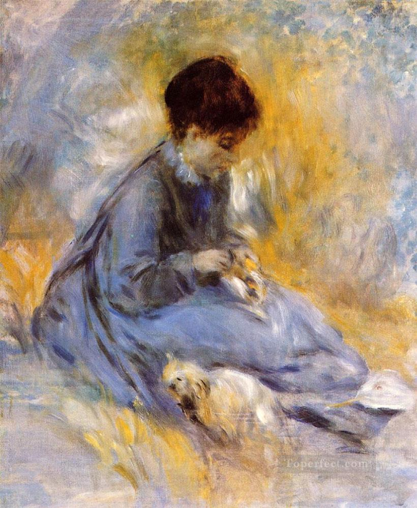 young woman with a dog Pierre Auguste Renoir Oil Paintings