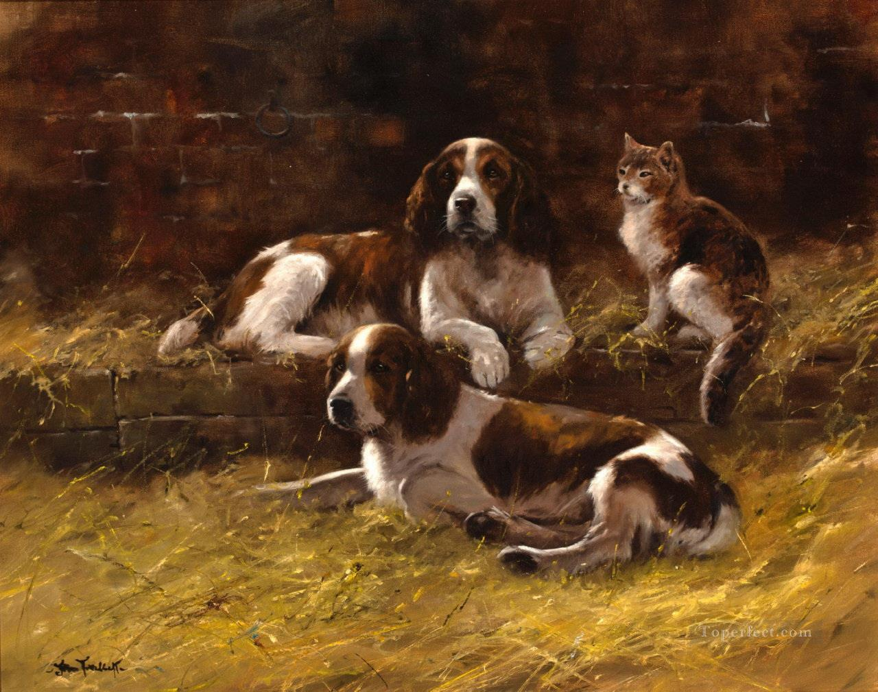 Springer Spaniels and a cat puppy Oil Paintings
