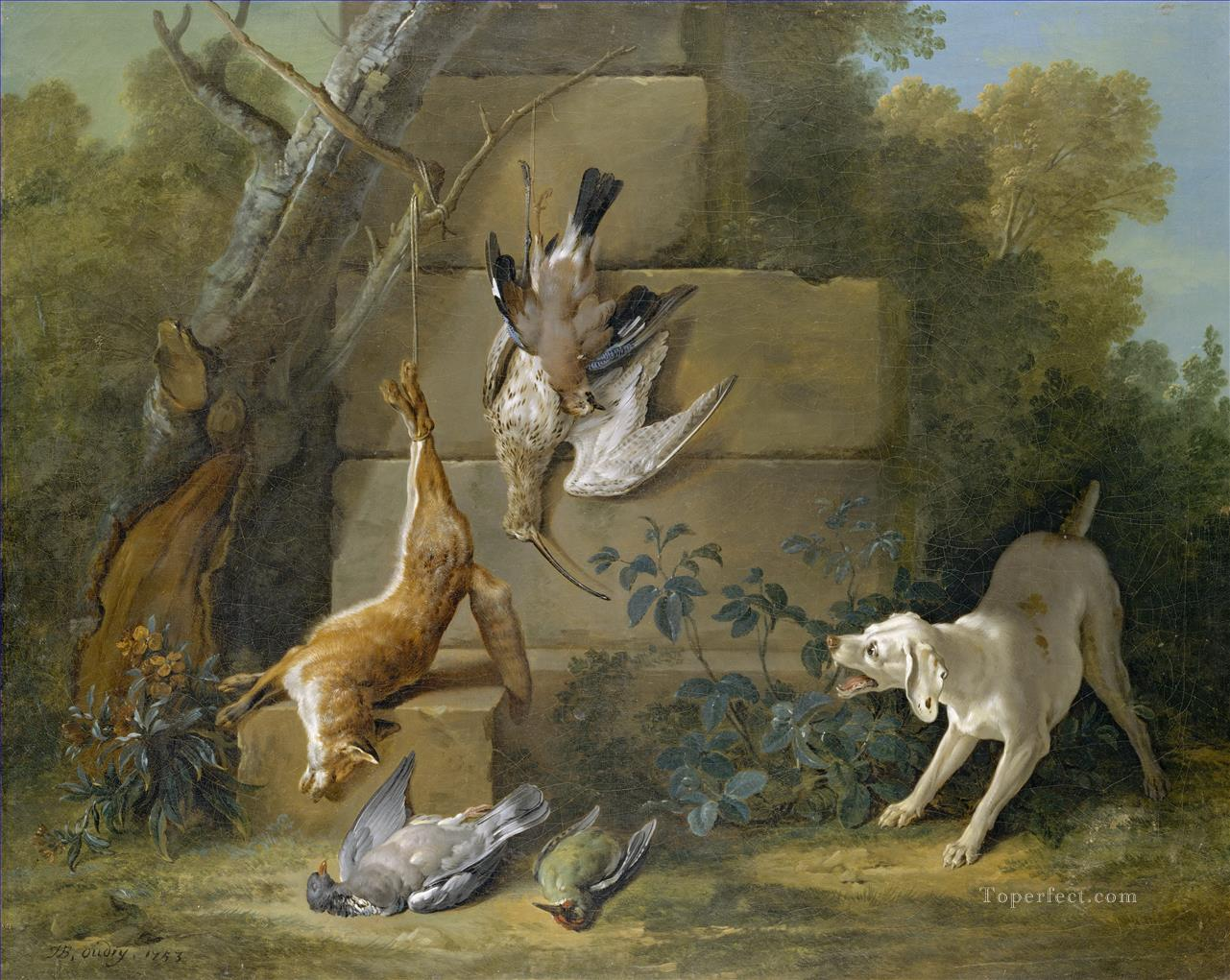 Jean Baptiste Oudry Dog Guarding Dead Game Oil Paintings