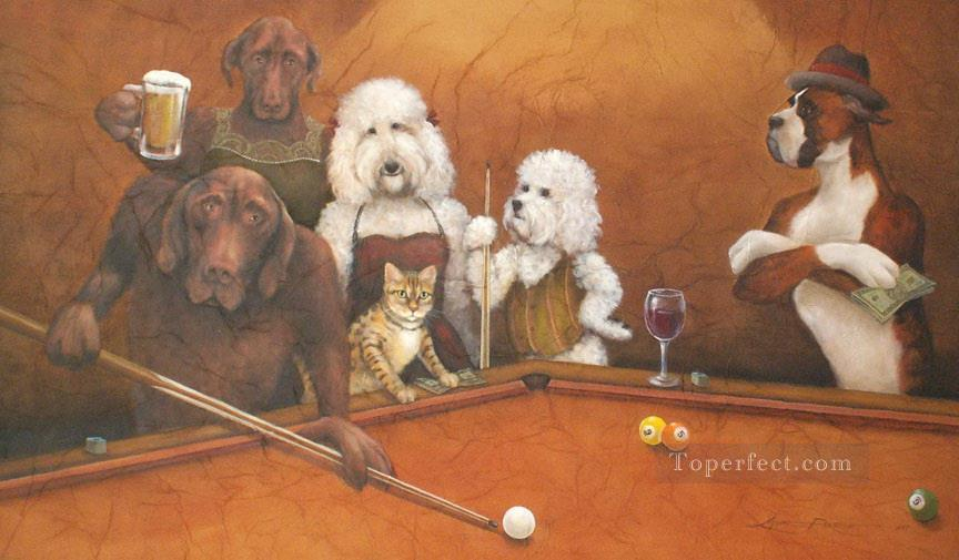 cat dogs playing pool Oil Paintings