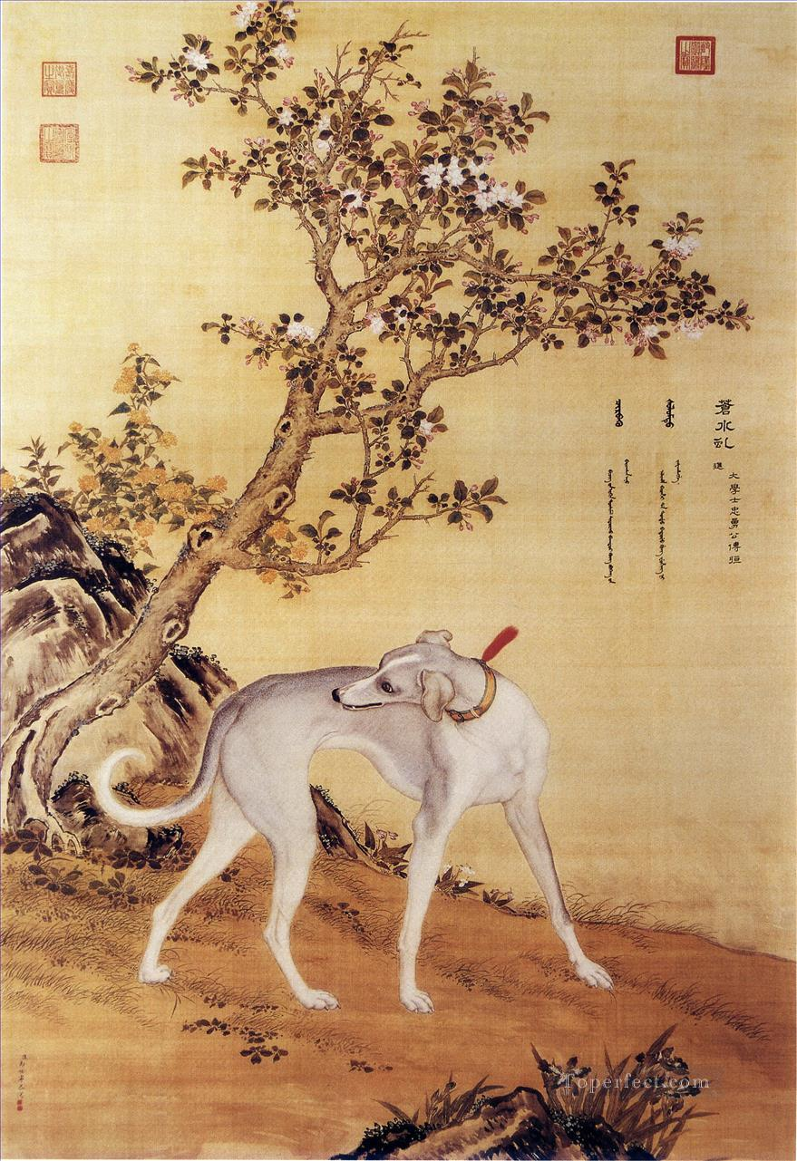 Cangshuiqiu a Chinese greyhound from Ten Prized Dogs Album Lang shining Giuseppe Castiglione dog Oil Paintings