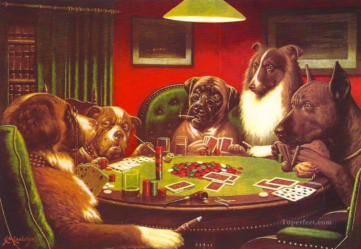 Dogs Playing Poker red Oil Paintings