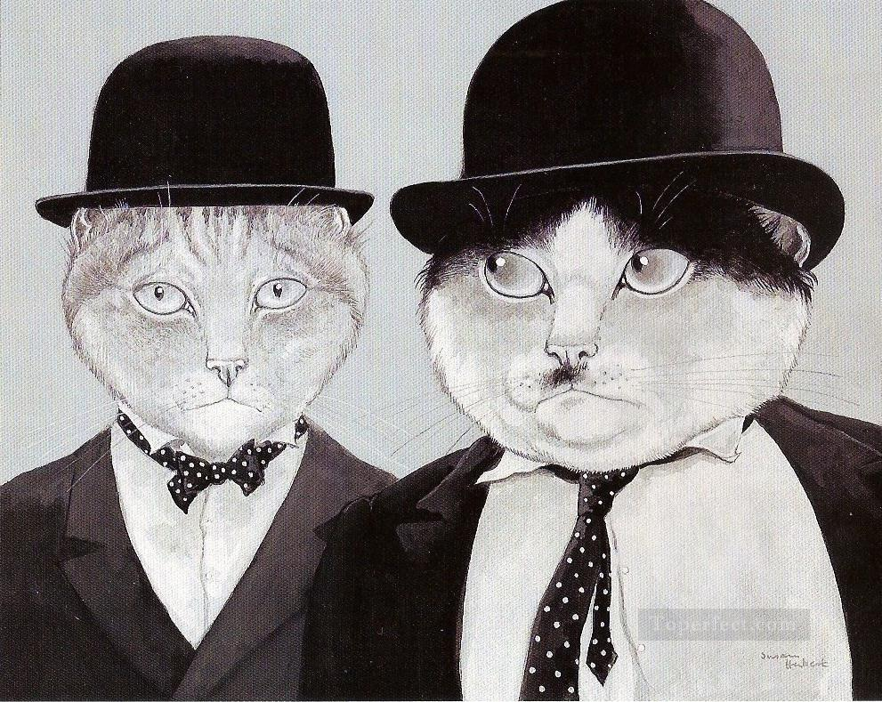 cats in suits facetious humor pet Oil Paintings