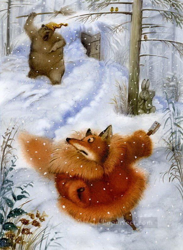 fairy tales bear chase fox facetious humor pet Oil Paintings