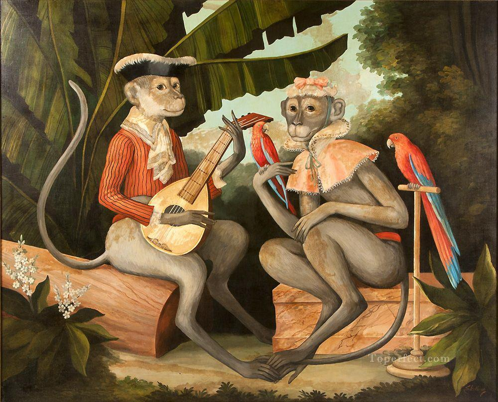 monkey playing guitar and parrots facetious humor pets Oil Paintings
