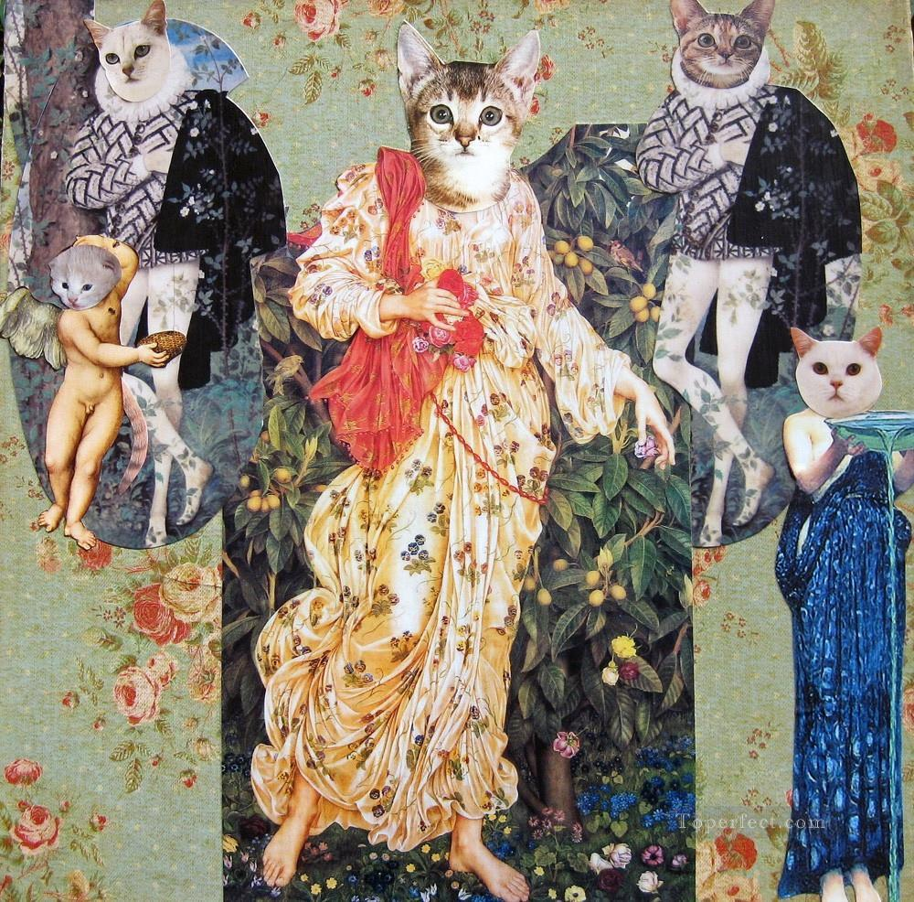 cat Renaissance facetious humor pets Oil Paintings