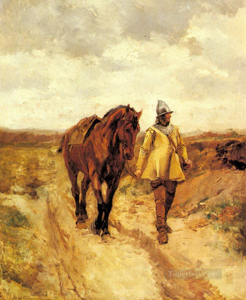 A Man of Arms and His Horse Oil Paintings