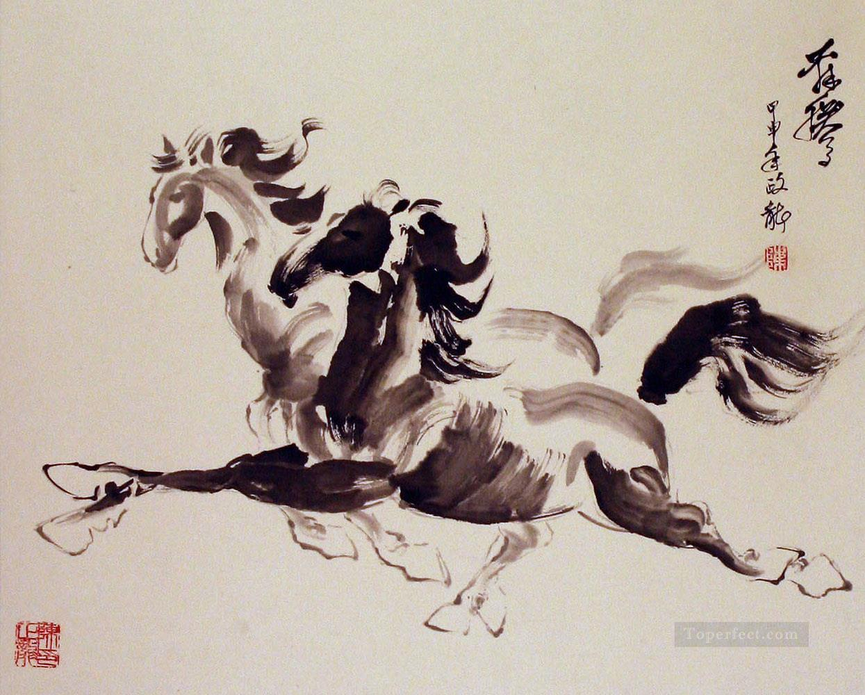 Chinese Horses Running Ink Painting In Oil For Sale