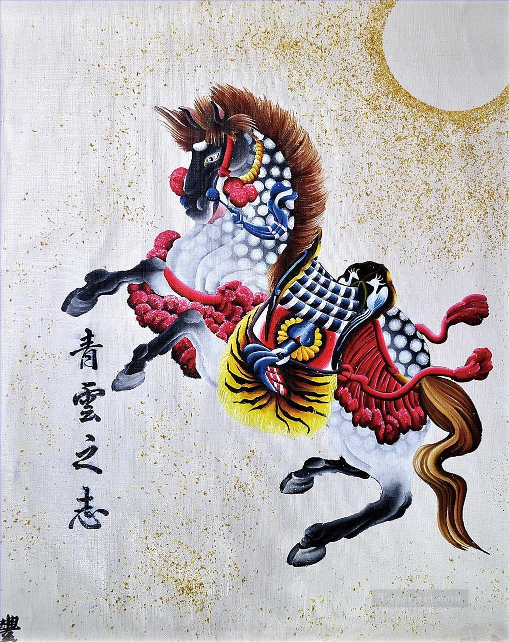 Colorful Chinese Horse Painting In Oil For Sale