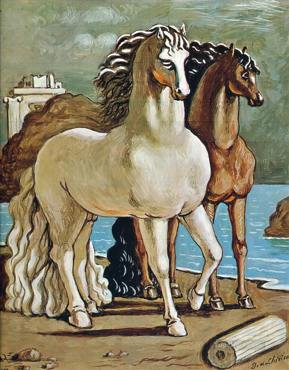 two horses by a lake Giorgio de Chirico Oil Paintings