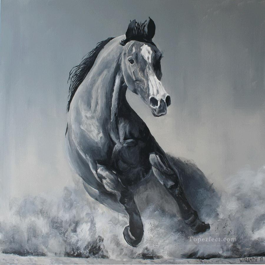 Wild horse black and white painting