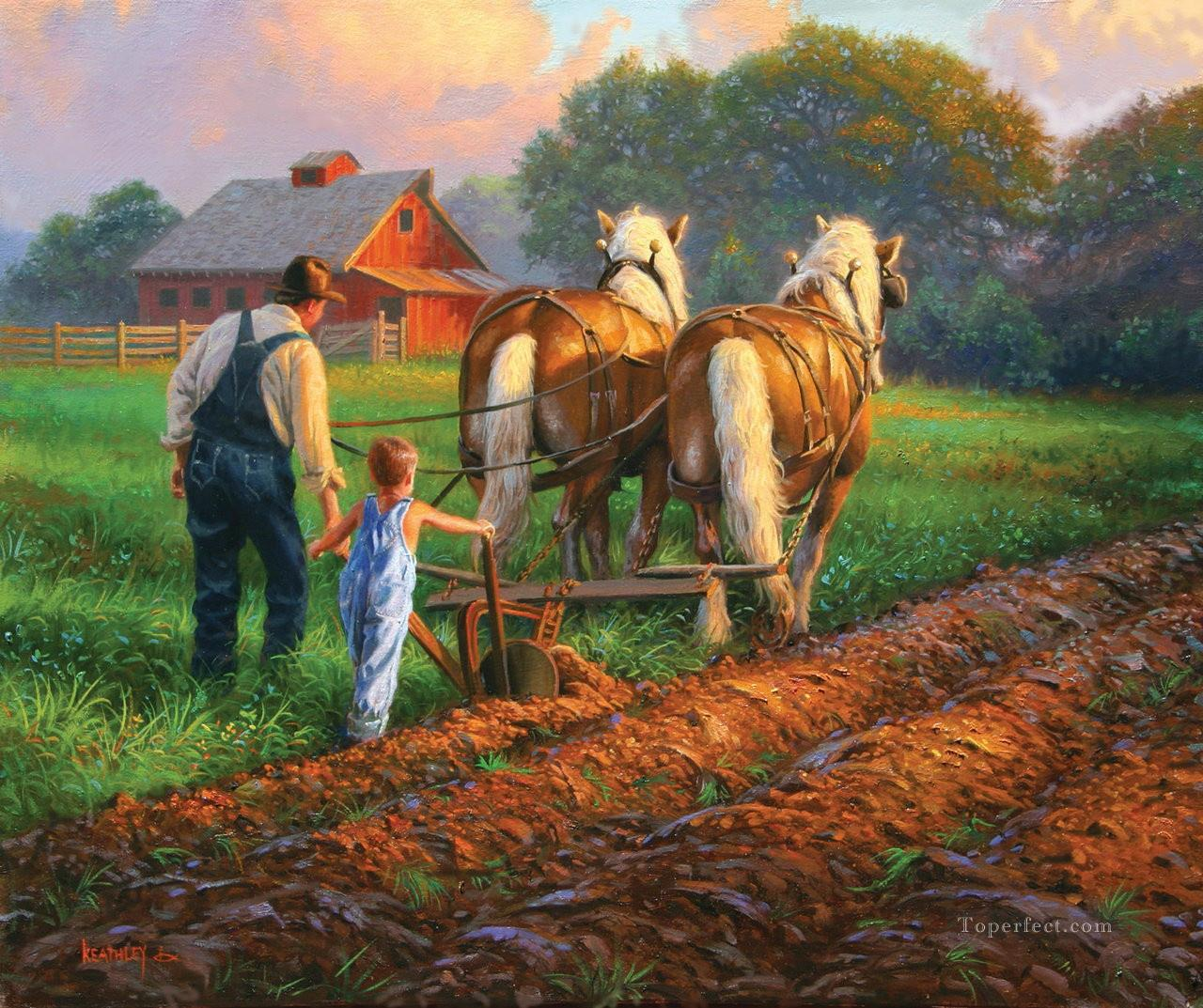 working horses at countryside Oil Paintings