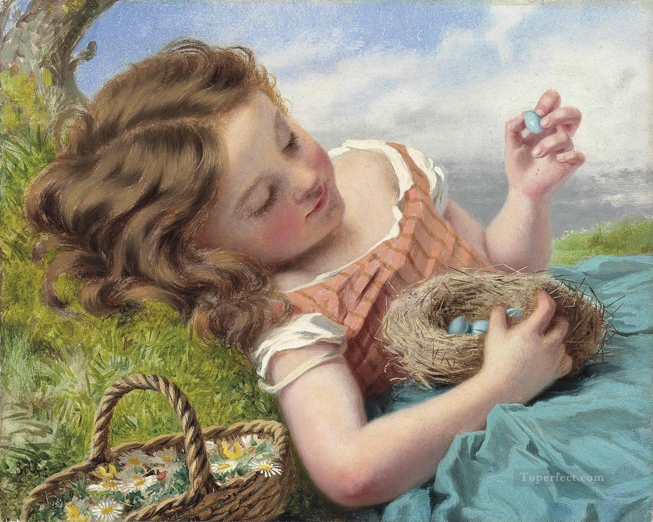 The thrush nest Sophie Gengembre Anderson pet girl Oil Paintings