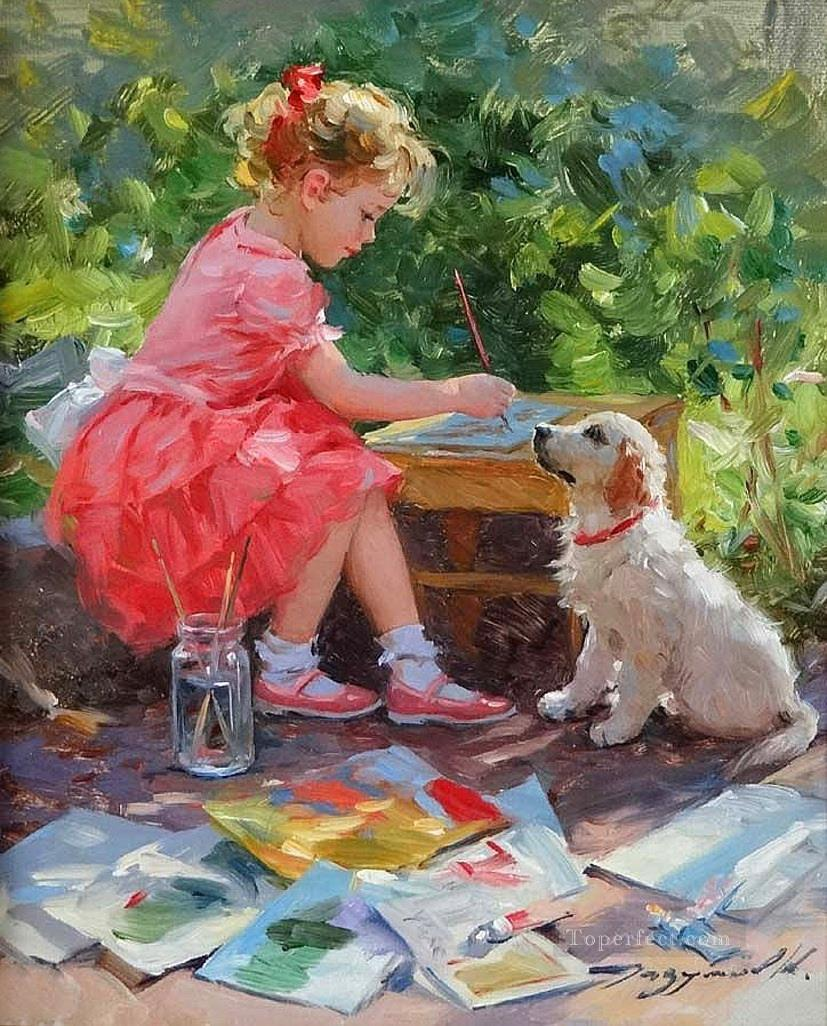 Girl and Dog KR 005 pet kids Oil Paintings
