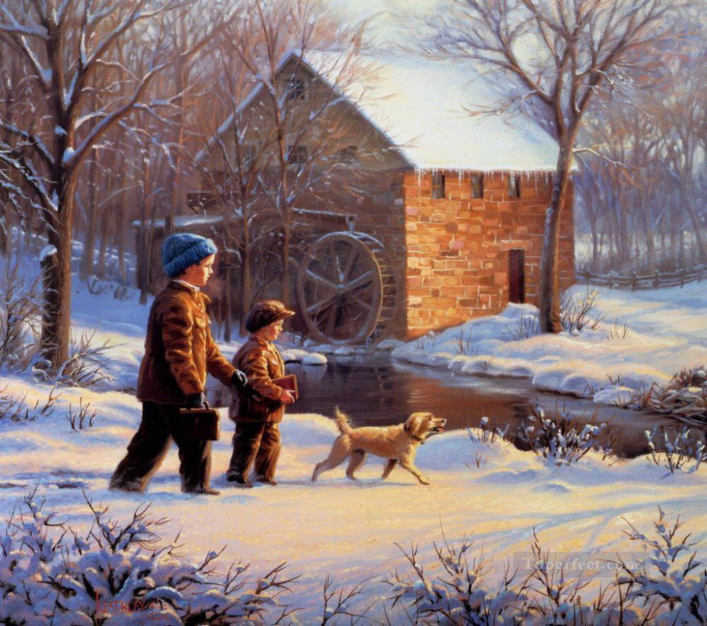 Russian boys and puppy pet kids Oil Paintings