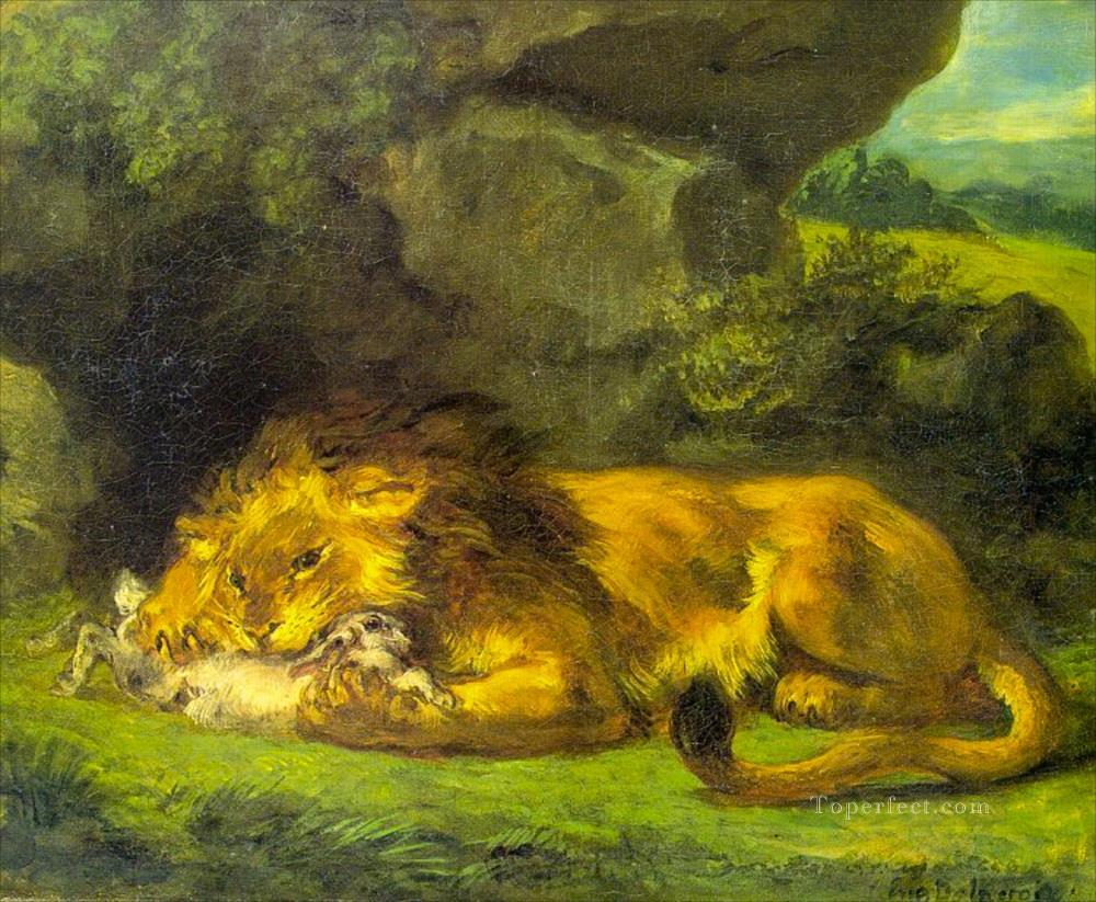 Lion with a Rabbit Louvre Oil Paintings