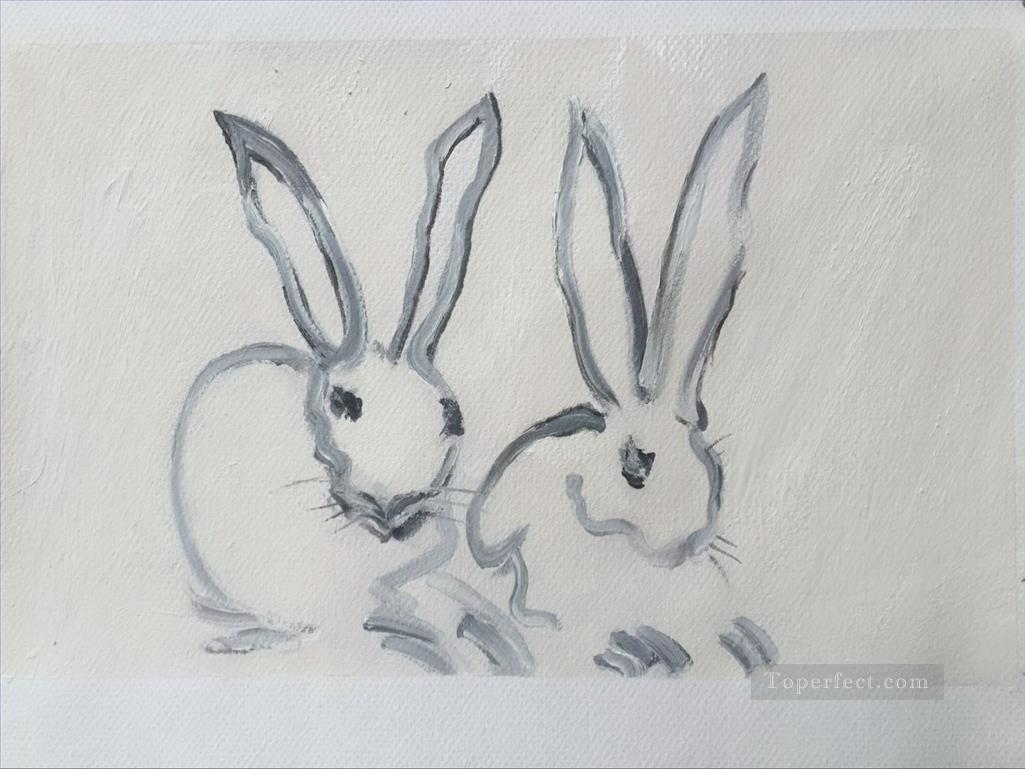 bunny rabbits impasto Oil Paintings