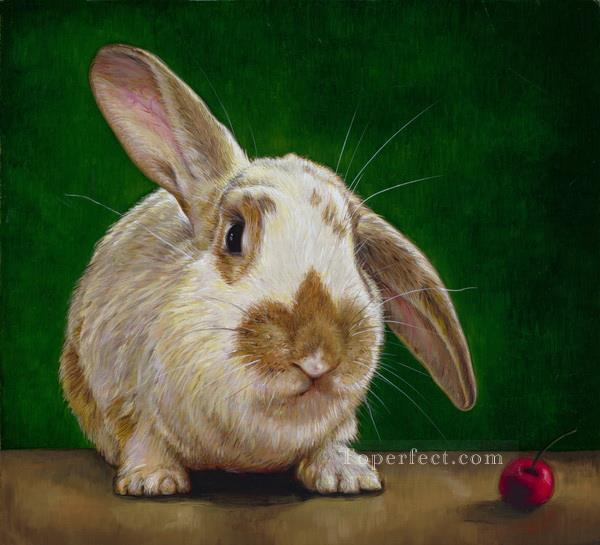 rabbit and red fruit Oil Paintings