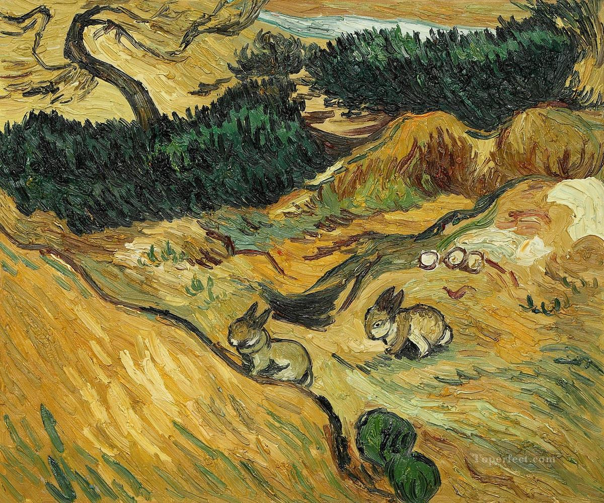 rabbit in van gogh style Oil Paintings