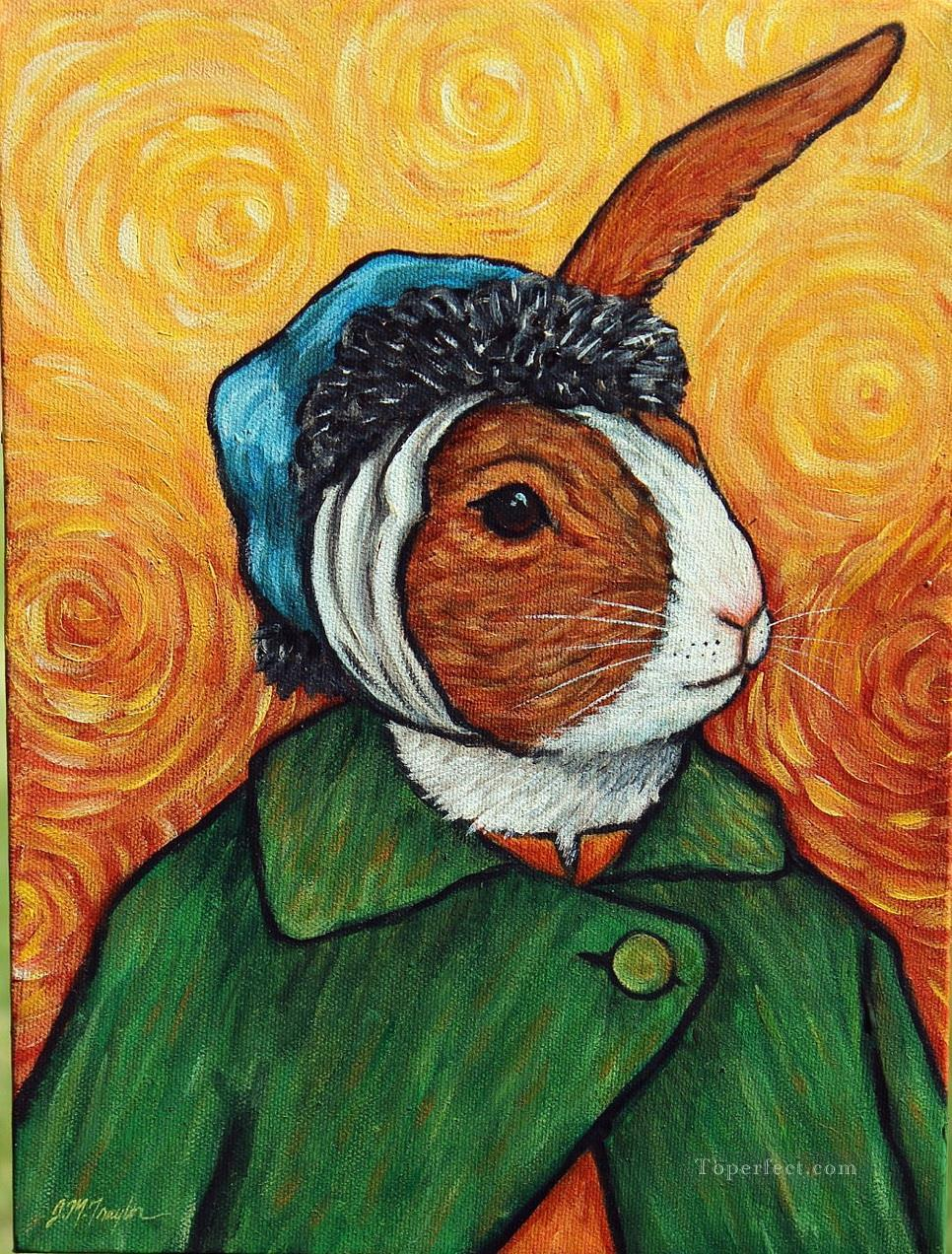 rabbit of van gogh selfportrait Oil Paintings