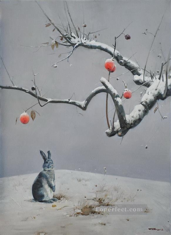 remaining red and snow bunny Oil Paintings