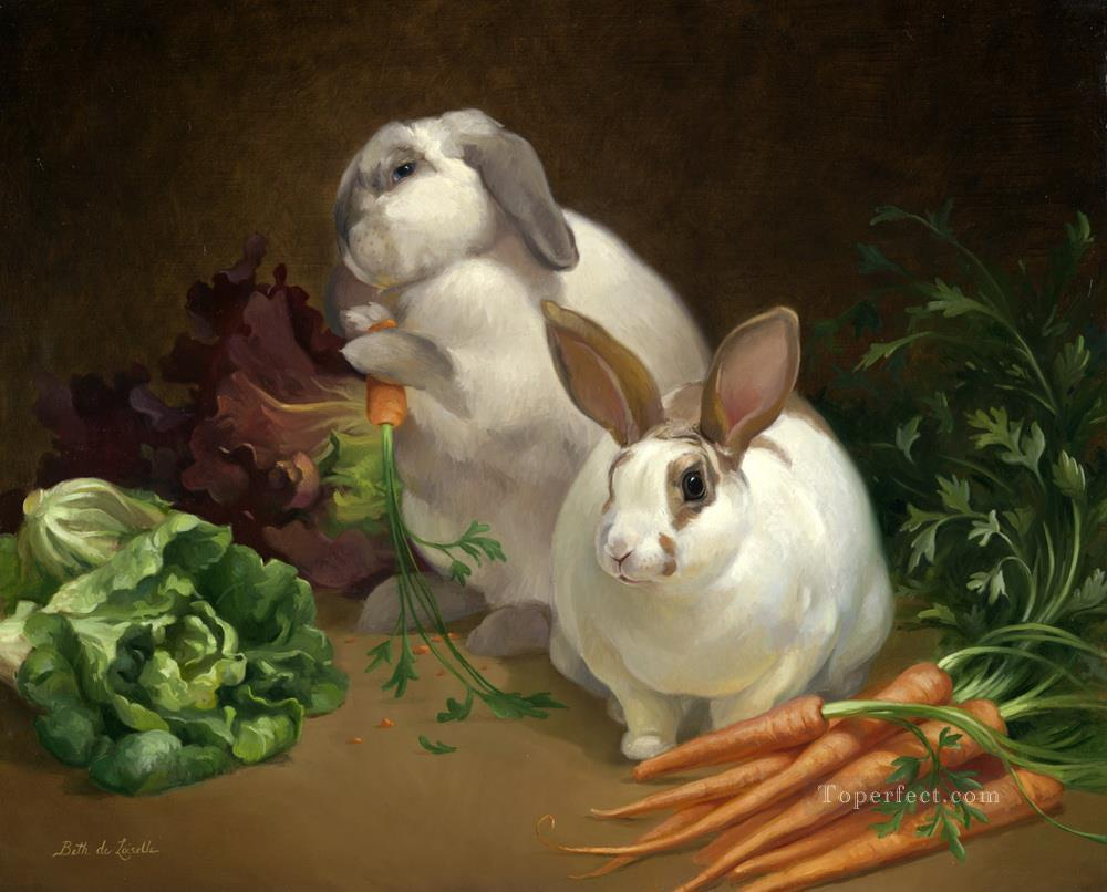 animals bunny banquet Oil Paintings