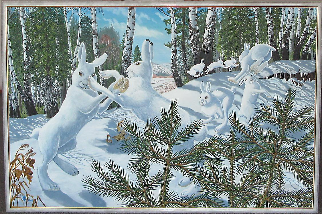playing white hares in forest Oil Paintings