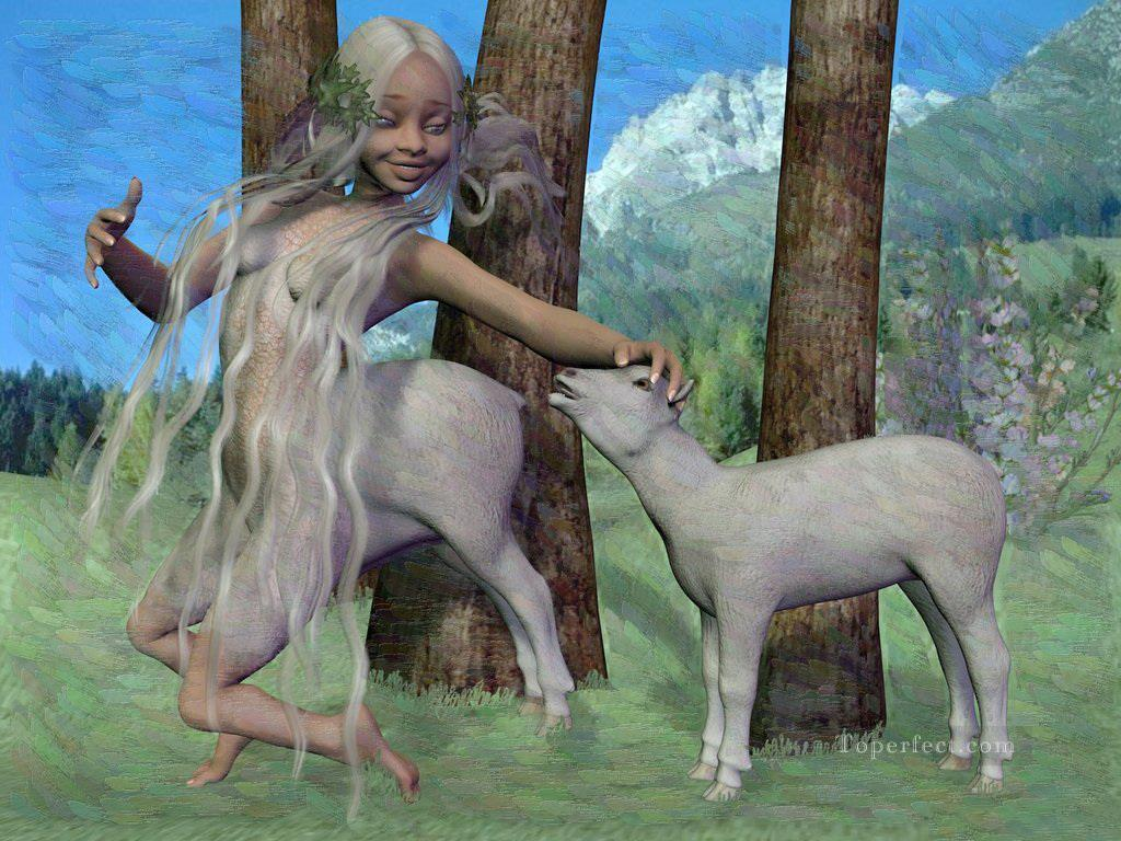 cute heidi girl transformation to sheep 2 Oil Paintings