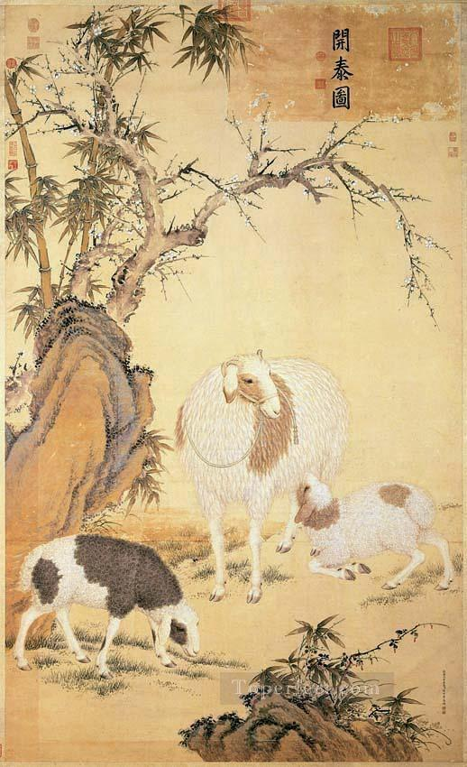Lang shining sheep old China ink Giuseppe Castiglione shepherd Oil Paintings