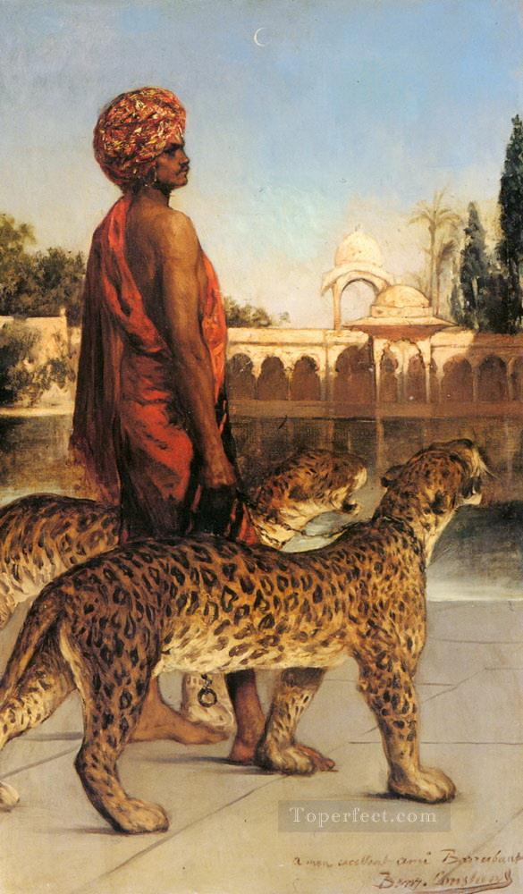 Palace Guard with Two Leopards Jean Joseph Benjamin Constant Araber Oil Paintings
