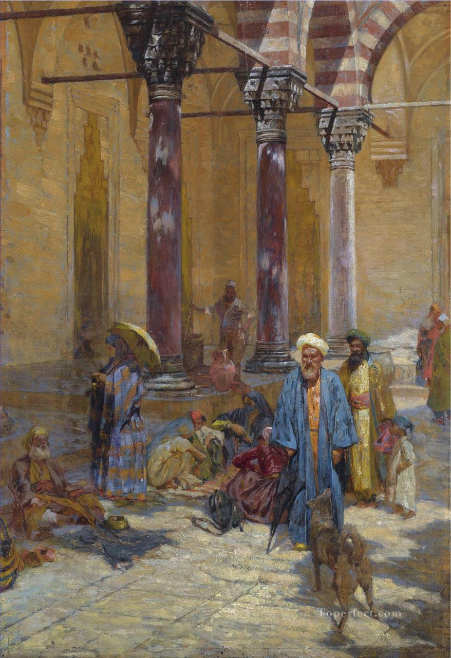 ORIENTAL SCENE IN A MOSQUE PRECINCT by Symeon Sabbides Araber Oil Paintings