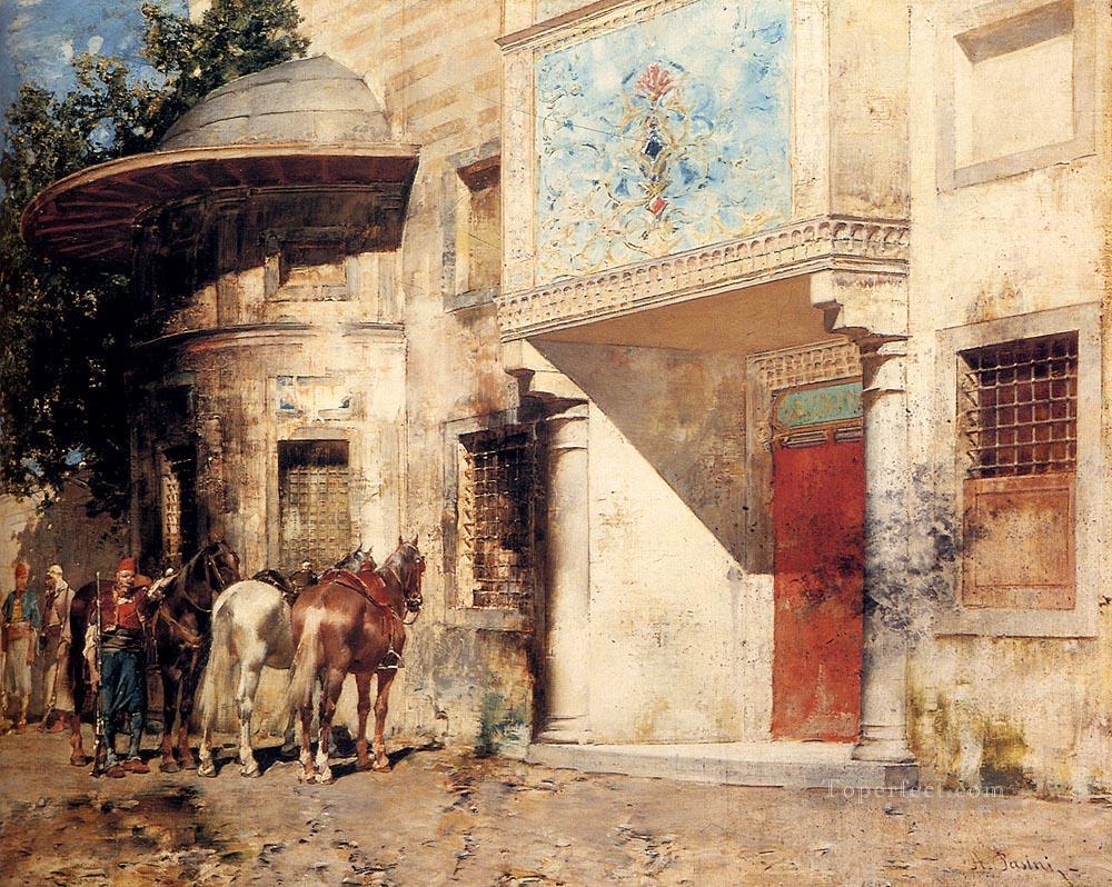 Outside The Mosque Arabian Alberto Pasini Painting In Oil