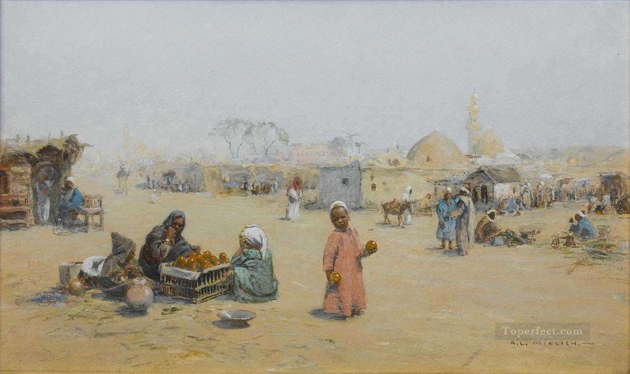 The orange sellers Alphons Leopold Mielich Araber Oil Paintings