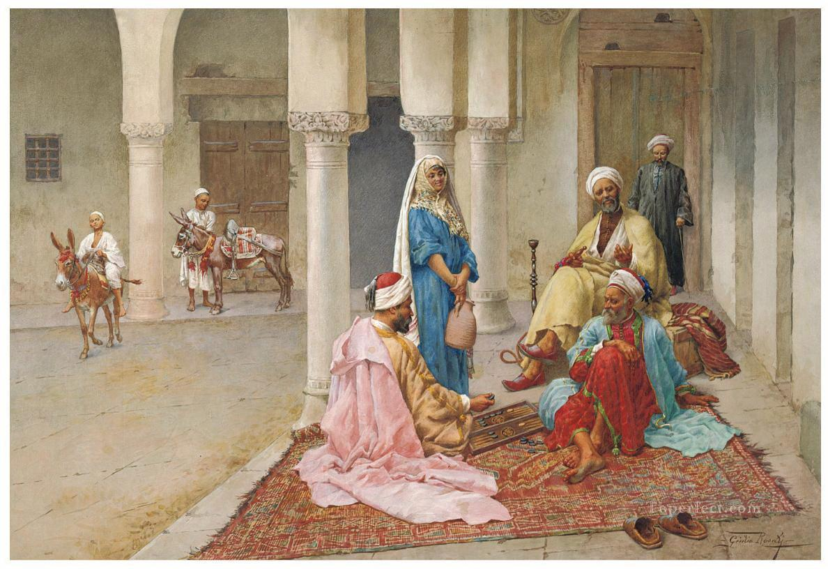 Giulio Rosati An afternoon game of backgammon Arabs Oil Paintings