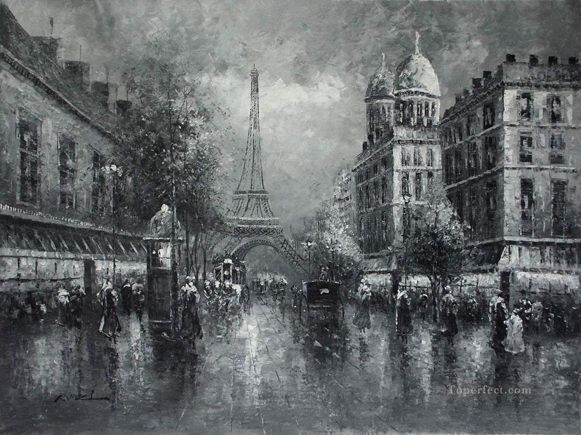 Black and white paris eiffel black and white painting