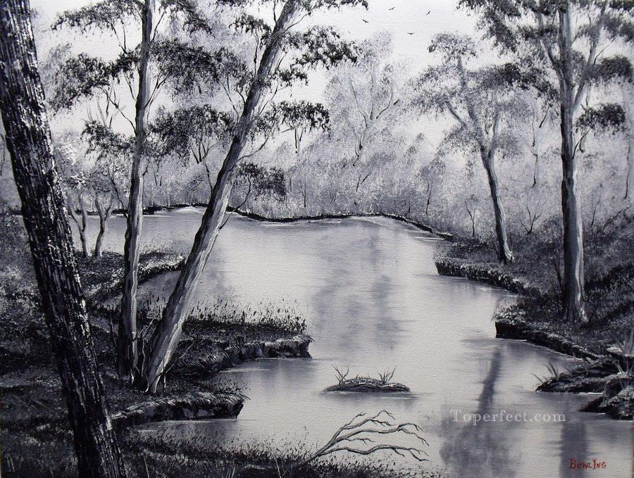 black and white stream Oil Paintings