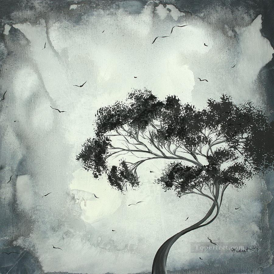 black and white tree and birds painting in oil for sale